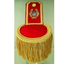 Epaulette Red / Gold Fringe with Hand Embroidered Logo