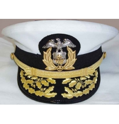 Hand Embroidered White Navy Peak Cap