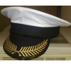 White Peaked Cap with Embroidered Peak